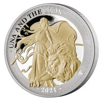 "1 oz Silber Proof Gilded "" Una & the Lion 2021 "" St. Helena  - max 750 Stk ( diff.besteuert nach §25a UStG )"