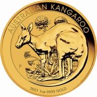 1 oz Gold Känguru 2021 in Kapsel