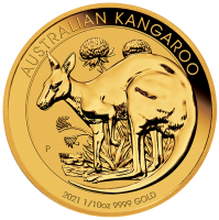 1/10 oz Gold Känguru 2021 in Kapsel