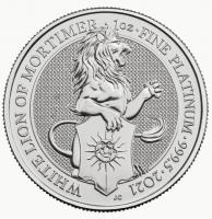 1 oz Platin Queen's Beast White Lion of Mortimer ( diff.besteuert nach §25a UStG )