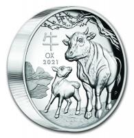 5 oz Silber Lunar Ochse / Ox III High Relief in Box/COA/Kapsel Perth Mint - max 388 ( diff.besteuert nach §25a UStG )