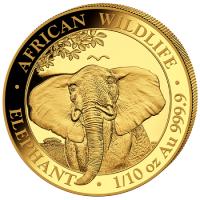 1/10 oz Gold Somalia Elefant 2021