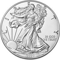20 X 1 oz Silber USA American Eagle 2020 ( diff.besteuert nach §25a UStG )