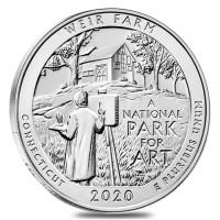 "5 oz Silber USA "" America the beautiful "" Connecticut Weir Farm ( diff.besteuert nach §25a UStG )"