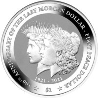 """1 oz Silber British Virgin Islands 2021 """" 100th Anniversary Morgan and Peace Dollar """" Reverse Frosted  ( diff.besteuert nach §25a UStG )"""