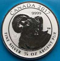 "3/4 oz Silber Canada Reverse Proof "" Big Horn Sheep "" 2017  ( diff.besteuert nach §25a UStG )"