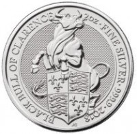 "2 oz Silber Royal Mint / United Kingdom "" Black Bull of Clarence "" ( diff.besteuert nach §25a UStG )"