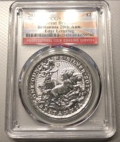 1 oz Silber Britannia Chariot 2017 in Slab MS69 - 20th Anniversary on the rim  ( diff.besteuert nach §25a UStG )