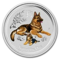 2 oz Silber Lunar Dog / Hund colored / farbig  in Kapsel ( diff.besteuert nach §25a UStG )