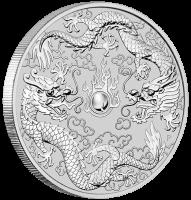 "1 oz Silber Perth Mint "" Double Dragon 2019 "" in Kapsel - max. Auflage 50.000  ( diff.besteuert nach §25a UStG )"