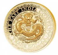 1 oz Gold Proof High Relief Chinese Dragon Trade Dollar inkl. Box / COA - max 288 stk - geprägt East India Company London