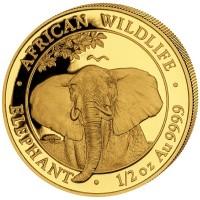 1/2 oz Gold Somalia Elefant 2021 in Kapsel