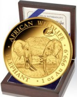 """1 oz Gold Somalia Elefant """" Chicago 2019 """" inkl. COA / BOX- max. Auflage 100 ( diff.besteuert nach §25a UStG )"""