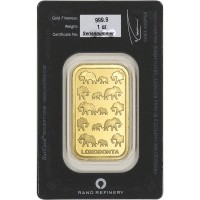 "1 oz Gold Barren Rand Refinery "" Elephant "" in Blister"