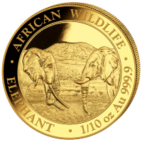 1/10 oz Gold Somalia Elefant 2020