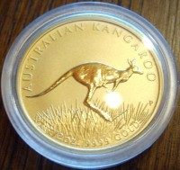 1 oz Gold Känguru 2008 in Kapsel