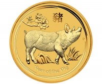 1 oz Gold Lunar II Schwein 2019 in Kapsel Perth Mint