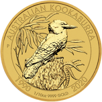 """1/10 oz Gold Perth Mint """" Kookaburra 2020 - 30 Jahre Kookaburra """" in Kapsel"""