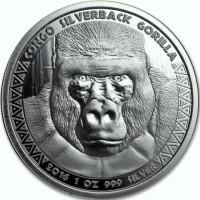 1 oz Silber Kongo Gorilla / Silberrücken 2016 - Wallstreetbets Special ( diff.besteuert nach §25a UStG )