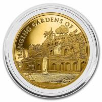 """1 oz Gold """" 7 Weltwunder der Antike / 7 Wonders of the Ancient World / Hanging Gardens of Babylon / Hängende Gärten """" max,. 77 Stück / inkl. Box"""