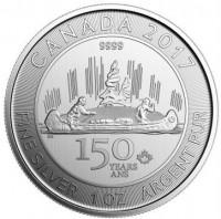 """1 oz Silber Canada """" Canoe / Kanu Voyageur """" - max. Auflage 250.000 ( diff.besteuert nach §25a UStG )"""