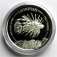"""1 oz Silber Barbardos """" Lionfish / Feuerfisch """" geprägt bei Scottsdale Mint in Kapsel - max. 10.000 ( diff.besteuert nach §25a UStG )"""