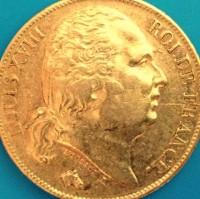 20 Francs Frankreich Louis XVIII 1814 - 1824 ( 5,81 Gramm Gold fein )