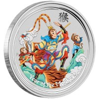 5 oz Silber Lunar / Monkey King colored / farbig  in Kapsel ( diff.besteuert nach §25a UStG )