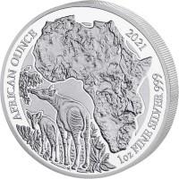 1 oz Silber Ruanda Okapi 2021 Proof - max. 1000 Stk ( inkl. gültiger gesetzl. Mwst )