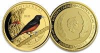 "1 oz Gold Proof-colored Montserrat "" Oriole "" 2020 Scottsdale Mint / in Box ( Auflage 100 )"