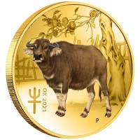 1/10 oz Gold Perth Mint Lunar III Ochse COLOR / FARBE 2021 in Kapsel