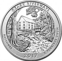 "5 oz Silber USA "" America the beautiful "" Missouri "" Ozark Riverways ( diff.besteuert nach §25a UStG )"