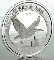 "1 oz Silber St. Kitts and Nevis "" Pelican 2018 "" Scottsdale Mint / Prooflike in Kapsel ( diff.besteuert nach §25a UStG )"