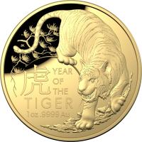 "1 oz Gold Royal Australian Mint "" domed shaped "" Tiger 2022 inkl. Box COA - max 750 Stk"