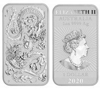 1 oz Silber Perth Mint Rectangular Barren Dragon / Drache 2020 ( diff.besteuert nach §25a UStG )