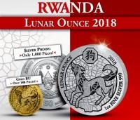 "1 oz Silber Ruanda "" Lunar Serie - Hund /Dog  ""  ( diff.besteuert nach §25a UStG )"