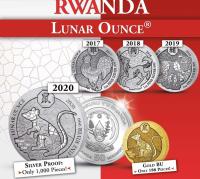 "1 oz Silber Proof Ruanda 2020 "" Maus / Mouse "" inkl. COA ( inkl. gültiger gesetzl. Mwst )"