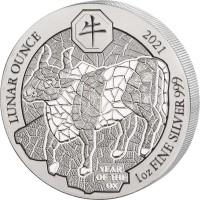 1 oz Silber Ruanda Lunar Ochse / Ox 2021 BU in Folie ( inkl. gültiger gesetzl. Mwst )