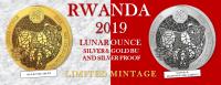 1 oz Proof Silber Ruanda Lunar Schwein / Pig  inkl. COA ( inkl. gültiger gesetzl. Mwst )