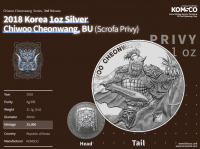 "1 oz Silber Südkorea 2018 "" Chiwoo Cheonwang Scrofa "" - max 25.000"