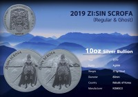 10 oz Silber Korea Scrofa in Kapsel  2019  - max Auflage 300