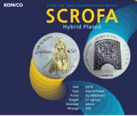 1 oz Silber Südkorea Scrofa Hybrid inkl. Box / COA ( Gold and Rhodium plated ) - max 500 Mintage