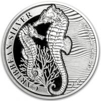 "1 oz Silber Barbardos "" Seahorse / Seepferdchen 2019 "" max. Mintage 10.000 - BU ( diff.besteuert nach §25a UStG )"