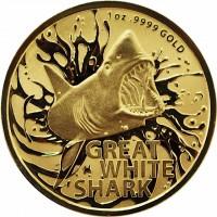 """1 oz Gold Australien Great White Shark """" Dangerous Animals Series """" in Kapsel / COA - max. 250 Stk"""