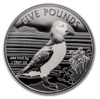"""1 oz Silber Alderney 2019 """" Puffin / Papageientaucher """" max. Mintage 10.000 - BU ( diff.besteuert nach §25a UStG )"""