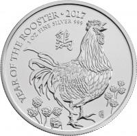 1 oz Silber Lunar Rooster / Hahn 2017 Grossbritannien / UK ( diff.besteuert nach §25a UStG )