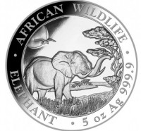5 oz Silber Somalia Elefant 2019 ( diff.besteuert nach §25a UStG )