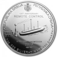 """1 oz Silber Serbien """" Tesla """" - zweite Ausgabe Remote Control ( diff.besteuert nach §25a UStG )"""