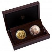 "2 Coin Set: 1 oz Gold Elefant / Elephant 2021 & 1 oz Gold Proof Krügerrand "" Elephant "" Proof in Box / COA "" Big Five "" South African Mint - max 100"