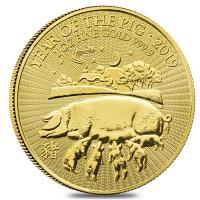 """1 oz Gold Grossbritannien """" Lunar Pig / Schwein """" in Kapsel - Auflage 8.888"""